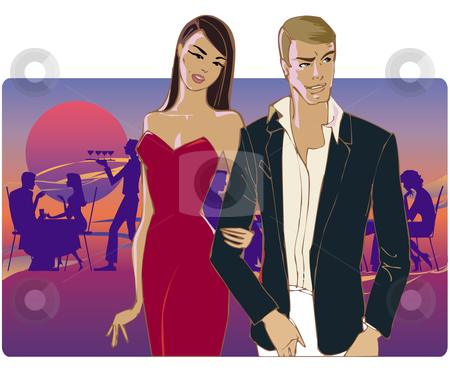 Couple dining out stock vector clipart, Couple going home from party by Vanda Grigorovic