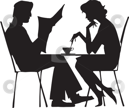 Silhouette of a couple stock vector clipart,  by Vanda Grigorovic