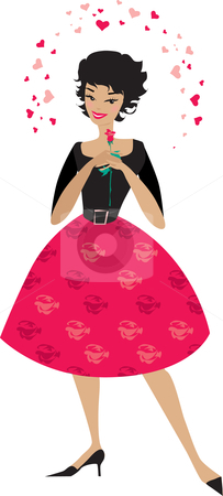 Stylish woman in love stock vector clipart, A colorful illustration of a stylish woman in a bright red and black dress and holding a single rose, surrounded by red hearts symbolizing love by Vanda Grigorovic