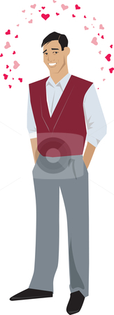Man in love stock vector clipart, An illustration of a guy in love with small hearts around his head, isolated on a white background. by Vanda Grigorovic