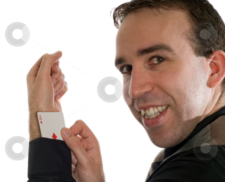 Man Cheating stock photo, Concept image of a man cheating at gambling by hiding an ace up his sleeve, isolated against a white background by Richard Nelson