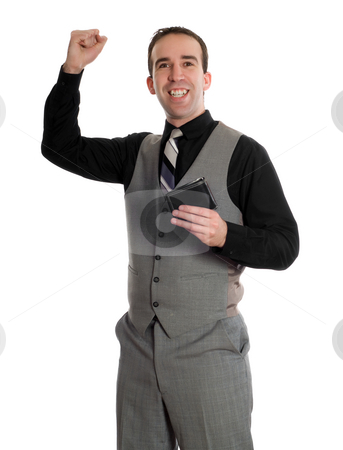 Wage Increase stock photo, A young man pumping his fist with excitement because he got a wage increase, isolated against a white background by Richard Nelson