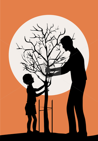 Planting tree stock vector clipart, Father and little son planring tree by Vanda Grigorovic