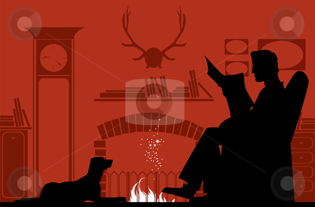 Reading by the fireplace stock vector clipart, Silhouettes of a reading man by fireplace and a dog by Vanda Grigorovic