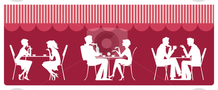 At cafe stock vector clipart, Silhouettes of people sitting near table and talking by Vanda Grigorovic