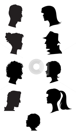 Silhouettes of profiles stock vector clipart, Silhouettes of faces profiles by Vanda Grigorovic