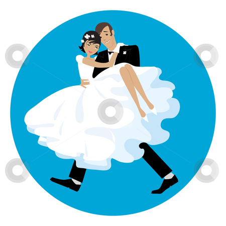 Carring the bride stock vector clipart, Newlywed couple, groom carrying the bride by Vanda Grigorovic
