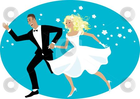 Happy newlyweds stock vector clipart, Happy newlyweds running by Vanda Grigorovic