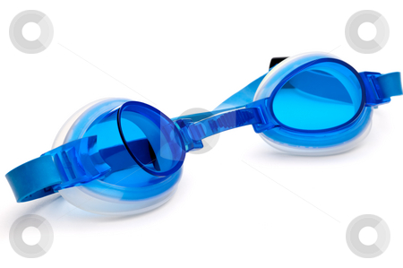 Blue plastic swimming goggles on a white surface stock photo, Blue plastic swimming goggles on a white surface by Vince Clements