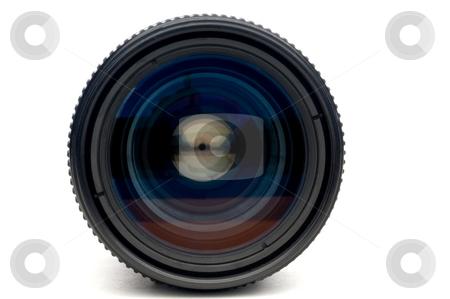 A horizontal closeup of a photographic camera lens on white stock photo, A horizontal closeup of a photographic camera lens on white by Vince Clements
