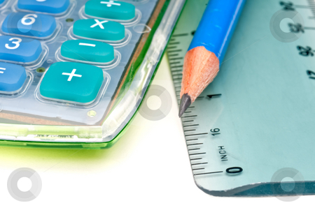 Horizontal macro of a blue pencil with a calulator and ruler stock photo, Horizontal macro of a blue pencil with a calulator and ruler by Vince Clements