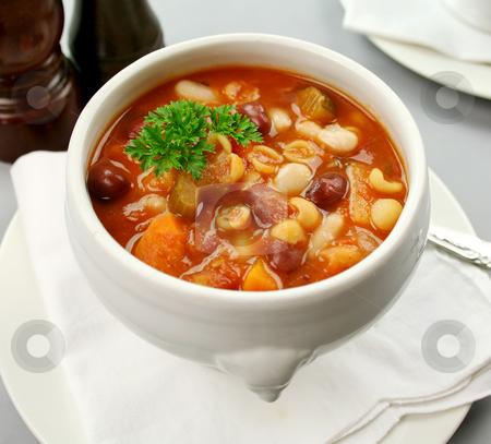 Minestrone Soup stock photo, Delicious Italian minestrone soup ready to serve. by Brett Mulcahy