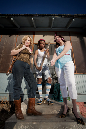 Three rough women stock photo, Three rough women on a house step by Scott Griessel
