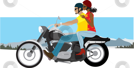 Couple on motorcycle  stock vector clipart, Illustration of a couple traveling by Vanda Grigorovic