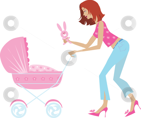 MOTHER AND BABY CARRIAGE stock vector clipart, Illustration of a young mother pushing a baby carriage, showing a toy bunny to the baby. by Vanda Grigorovic