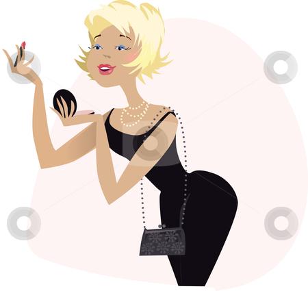 APPLYING MAKE-UP ILLUSTRATION stock vector clipart, An illustration of a woman applying make-up. by Vanda Grigorovic