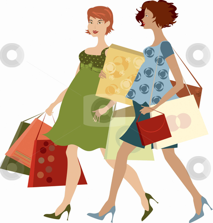 Shopping women  stock vector clipart, Two pregnant ladies shopping by Vanda Grigorovic