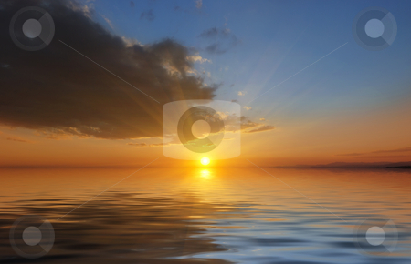 Sunset stock photo, Surreal sunset on the sea with clouds. by Ivan Paunovic