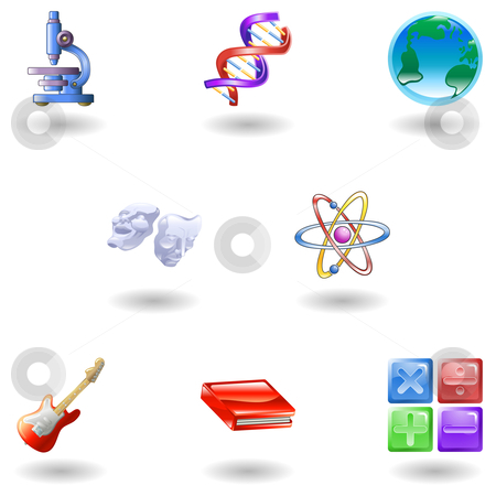 Glossy category education web icons stock vector clipart, A subject or category icon set eg. science, maths, literature, geography, music, physics etc by Christos Georghiou
