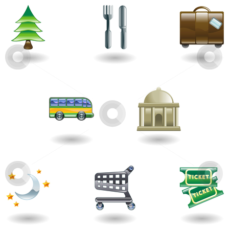 Travel and Tourism Icons stock vector clipart, Tourist locations icon set Icon set relating to city or location information for tourist web sites or maps etc. by Christos Georghiou