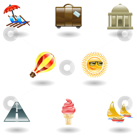 Travel and tourism icon set stock vector clipart, A travel and tourism web icon set by Christos Georghiou