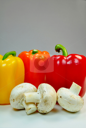 Peppers and mushrooms stock photo, Fresh vegetables, peppers and mushrooms by Fernando Barozza