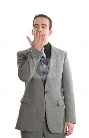 Emotional Freedom Technique stock photo, Front view of a businessman tapping under his nose as a step in performing the Emotional Freedom Technique, isolated against a white background by Richard Nelson