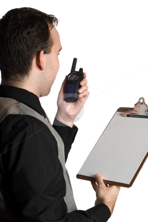 Survey Work stock photo, A young man talking on a walkie-talkie while holding a clipboard with blank paper on it, isolated against a white background by Richard Nelson