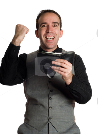 Employee Bonus stock photo, An employee smiling and holding his wallet with excitement at getting a monetary bonus by Richard Nelson