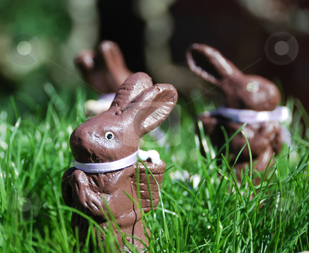 Easter Bunnies stock photo, Three Easter bunny figurines in green grass on a sunny day. by Denis Radovanovic