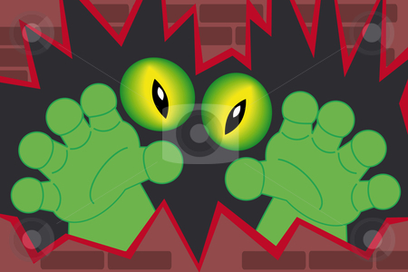 Green monster haands coming out of a wall stock vector clipart, Green monster hands and creepy alien eyes coming out of a wall by Karin Claus