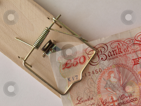 Caught in a trap. stock photo, Concept of trapped finance it the present down turn. by Ian Langley
