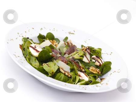 Lamb's lettuce stock photo, Lamb's lettuce with dates, walnuts, champignos and parmesan cheese by Torsten Lorenz