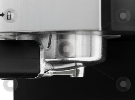 Close up of espresso machine filter stock photo, Close up of a espresso machine metal filter by John Teeter