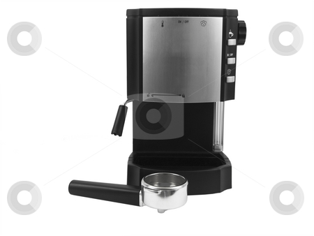 Espresso machine stock photo, Espresso machine on a white background with filter holder by John Teeter