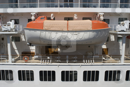 Life boat stock photo, A cruise ship lifeboat, concept of a safe haven or a backup plan by Stephen Gibson