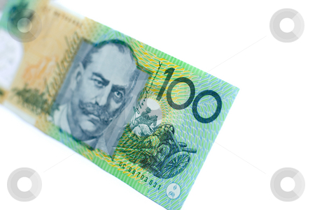 Australian Money stock photo, A single 100-dollar Australian bank note on a white background by Stephen Gibson