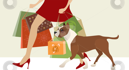 Shopping helper stock vector clipart, Dog helps lady carry shop bags by Vanda Grigorovic