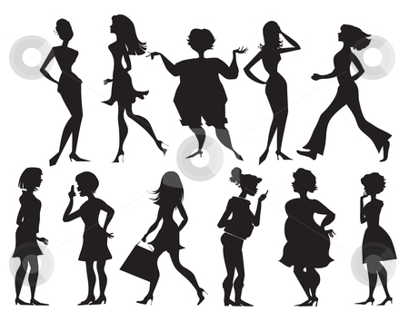 Silhouettes of women stock vector clipart, Eleven different silhouettes of women by Vanda Grigorovic
