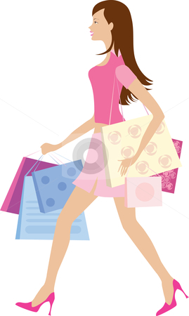 Shopping girl1 stock vector clipart, Girl with shopping bags by Vanda Grigorovic