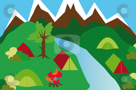 Camping site in a mountain landscape stock vector clipart, Camping site in a mountain landscape with tents and river and campfire by Karin Claus
