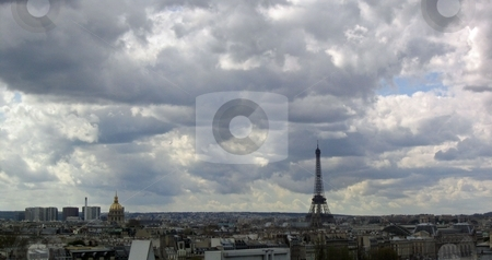 Panoramic view of Paris stock photo, Panoramic view of Paris with Eiffel tower by Jaime Pharr