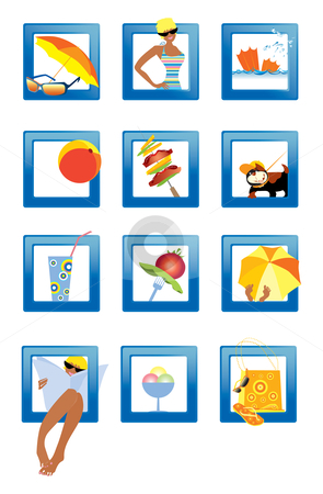 Beach icons stock vector clipart, Symbols of the summer life on the beach by Vanda Grigorovic