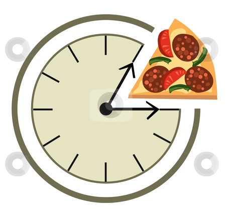 Lunch time stock vector clipart, Clock showing a lunch break by Vanda Grigorovic