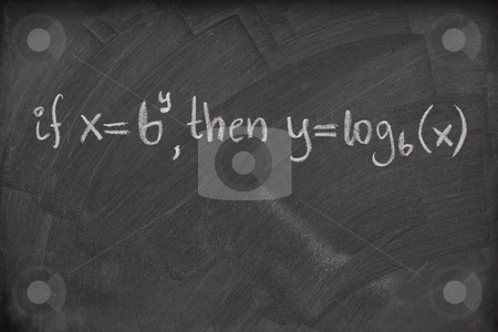 Logarithm definition on a school blackboard stock photo, Logarithm definition handwritten with white chalk on a school blackboard with eraser smudges by Marek Uliasz