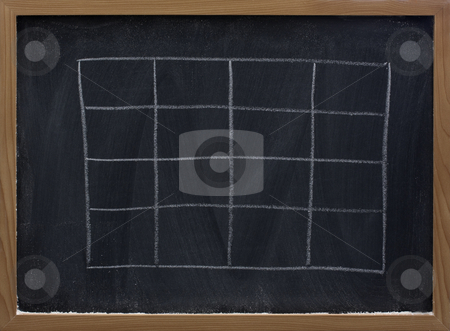 Blank table on blackboard stock photo, Blank table sketched with white chalk on blackboard with eraser smudges by Marek Uliasz