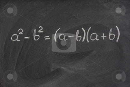 Simple mathematical formula on a blackboard stock photo, Simple mathematical formula handwritten with white chalk on a blackboard with strong eraser smudge patterns by Marek Uliasz