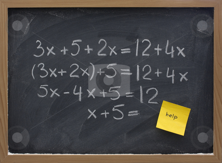 Help with math concept stock photo, Simple mathematics (equation simplification) on blackboard with a yellow sticky note calling for help by Marek Uliasz