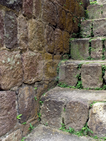 Mossy stone steps and wall stock photo, Stone staircase and wall with moss by Jill Reid