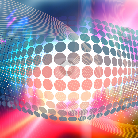 Funky 3D Background stock photo, Abstract background with glowing circles and colorful accents. by Todd Arena